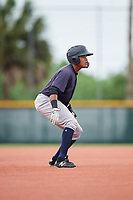 GCL Yankees East designated hitter Starlin Paulino (6) leads off second base during the second game of a doubleheader against the GCL Pirates on July 31, 2018 at Pirate City Complex in Bradenton, Florida.  GCL Pirates defeated GCL Yankees East 12-4.  (Mike Janes/Four Seam Images)