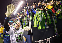 Seattle Sounders FC goalkeeper Kasey Keller acknowledges fans after play between the Seattle Sounders FC and the Chicago Fire in the U.S. Open Cup Final at CenturyLink Field in Seattle Tuesday October 4, 2011. Seattle won the game 2-0 to win its third U.S. Open Cup.