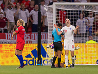 LYON,  - JULY 2: Ellen White #18 reacts to a foul being called on her during a game between England and USWNT at Stade de Lyon on July 2, 2019 in Lyon, France.