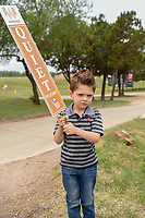 A young fan flashes a quiet sign near the 10th green during Round 2 of the Valero Texas Open, AT&amp;T Oaks Course, TPC San Antonio, San Antonio, Texas, USA. 4/20/2018.<br /> Picture: Golffile | Ken Murray<br /> <br /> <br /> All photo usage must carry mandatory copyright credit (&copy; Golffile | Ken Murray)
