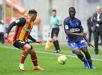 20170415 - LENS , FRANCE : Lens' Kenny Lala (L) and Auxerre's Baba Traore (R) pictured during the soccer match between Racing Club de LENS and AJ Auxerre , on the thirty third matchday in the French Dominos pizza Ligue 2 at the Stade Bollaert Delelis stadium , Lens . Saturday 15 April 2017 . PHOTO DIRK VUYLSTEKE | SPORTPIX.BE