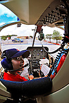 2 August 2009: An interior view of a Bell Jet Ranger helicopter cockpit during a flight above the Caribbean town of Willemstad, on the island of Curacao, in the Netherlands Antilles. Curaçao is known for tourism, scuba diving, and technologically advanced business districts. Mandatory Photo Credit: Ed Wolfstein Photo
