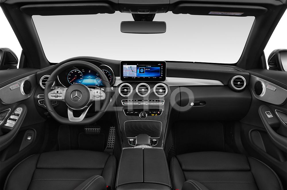 Stock photo of straight dashboard view of 2019 Mercedes Benz C-Class C300- 2 Door Convertible Dashboard