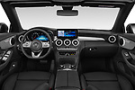 Stock photo of straight dashboard view of 2020 Mercedes Benz C-Class C300- 2 Door Convertible Dashboard
