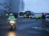Monday 11th August 2014<br /> Pictured: Real Madrid team bus outside Cardiff City Stadium.<br /> RE: Real Madrid team bus about to leave Cardiff City Football Stadium with Police escort, fans wait in the rain