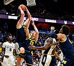 "November 18, 2018: #17 Michigan [blue] easily defeats Providence in the BHOF ""TIP-OFF, 66-47 at the Mohegan Sun in Uncasville, Ct. Dan Heary/Eclipse Sportswire/CSM"