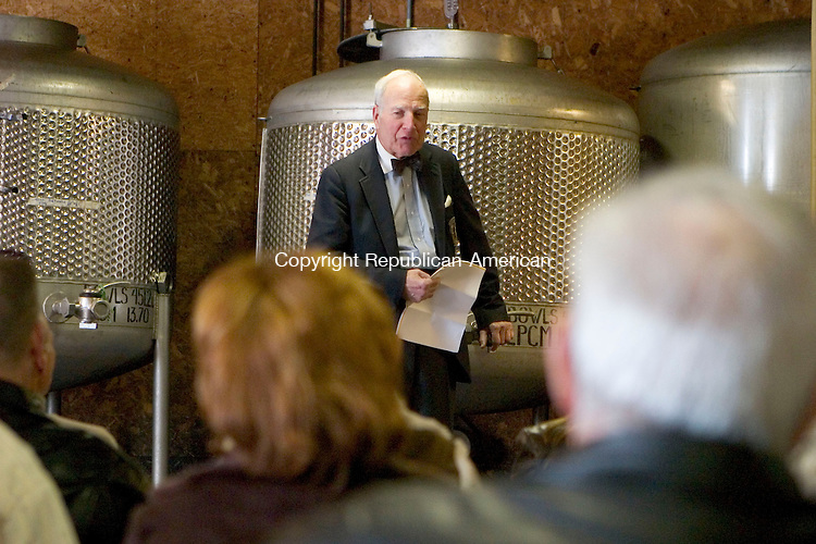 LITCHFIELD, CT- 18 MARCH 07- 031807JT07- <br /> Sherman Haight, whose family has owned Haight Vineyards for 30 years, leads the vineyard's 26th annual wine barrel tasting on Sunday in Litchfield.<br /> Josalee Thrift Republican-American