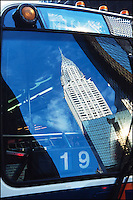 Chryler Building reflected in a bus window.