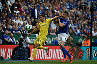 Leicester City's Jonny Evans battles with Chelsea's Davide Zappacosta<br /> <br /> Photographer Hannah Fountain/CameraSport<br /> <br /> The Premier League - Leicester City v Chelsea - Sunday 12th May 2019 - King Power Stadium - Leicester<br /> <br /> World Copyright &copy; 2019 CameraSport. All rights reserved. 43 Linden Ave. Countesthorpe. Leicester. England. LE8 5PG - Tel: +44 (0) 116 277 4147 - admin@camerasport.com - www.camerasport.com