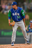 Relief pitcher Robert Garcia (33) of the Lexington Legends looks in for the sign during a game against the Greenville Drive on Sunday, September 2, 2018, at Fluor Field at the West End in Greenville, South Carolina. Greenville won, 7-4. (Tom Priddy/Four Seam Images)