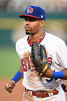 Buffalo Bisons outfielder Dalton Pompey (31) jogs to the dugout in between innings during a game against the Pawtucket Red Sox on August 23, 2014 at Coca-Cola Field in Buffalo, New  York.  Buffalo defeated Pawtucket 15-2.  (Mike Janes/Four Seam Images)