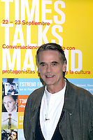 21.09.2012.The New York Times in collaboration with the Department of Arts of the City of Madrid presented, for the first time in Madrid, a series of TimesTalks at the Teatro Fernan Gomez, with prominent international personalities from film, theater and music in conversation with journalists from the New York Times. In the image Jeremy Irons  Credit: Alterphotos/Gonzalez/NortePhoto/MediaPunch Inc. ***FOR USA ONLY***