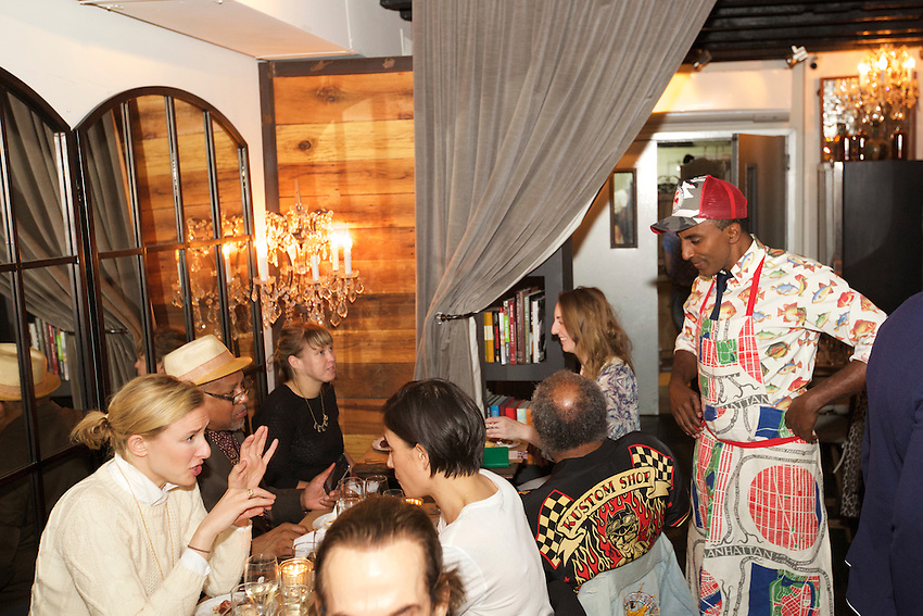New York, NY - May 20, 2016: Chef and Harlem Eat Up! founder, Marcus Samuelsson meets and greets guests at a special dinner at Mountain Bird in East Harlem, one of the many Dine In Harlem meals served during Harlem Eat Up!<br /> <br /> <br /> CREDIT: Clay Williams for Food Republic.<br /> <br /> &copy; Clay Williams / claywilliamsphoto.com