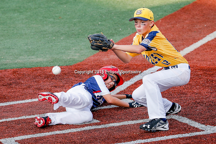 ABERDEEN, MD - AUGUST 02: in a game between New England and Midwest Plains during the Cal Ripken World Series at The Ripken Experience Powered by Under Armour on August 2, 2016 in Aberdeen, Maryland. (Photo by Ripken Baseball/Eclipse Sportswire/Getty Images)