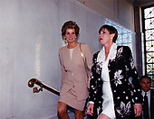Princess Diana, left, is escorted by an unidentified person, right, as she visits the American Red Cross Headquarters in Washington, DC on October 21, 1994.<br /> Mandatory Credit: Mark Wilson / American Red Cross via CNP