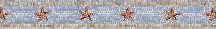 "5 5/8"" Halley border, a hand-cut stone mosaic, shown in polished Breccia Oniciata, Celeste, Rosa Verona, and honed New Kendra."