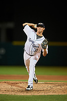 Lakeland Flying Tigers relief pitcher Spenser Watkins (31) delivers a pitch during a game against the Fort Myers Miracle on August 7, 2018 at Publix Field at Joker Marchant Stadium in Lakeland, Florida.  Fort Myers defeated Lakeland 5-0.  (Mike Janes/Four Seam Images)