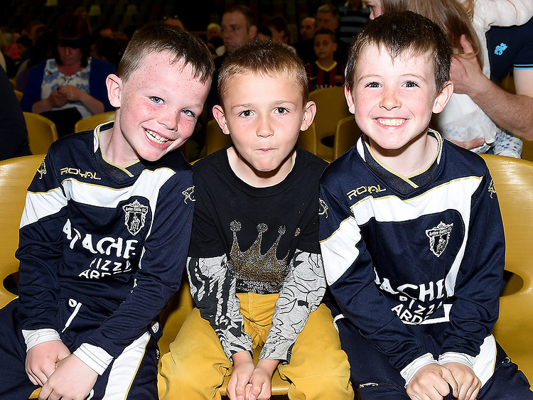 Keelin Martin, Adam Gillespie and Laidhán pictured at Ardee Celtic underage awards night in Ardee Parish Centre. Photo:Colin Bell/pressphotos.ie