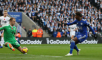 Leicester City's Demarai Gray sees this effort blocked by Burnley's goalkeeper Joe Hart<br /> <br /> Photographer Stephen White/CameraSport<br /> <br /> The Premier League - Saturday 10th November 2018 - Leicester City v Burnley - King Power Stadium - Leicester<br /> <br /> World Copyright &copy; 2018 CameraSport. All rights reserved. 43 Linden Ave. Countesthorpe. Leicester. England. LE8 5PG - Tel: +44 (0) 116 277 4147 - admin@camerasport.com - www.camerasport.com