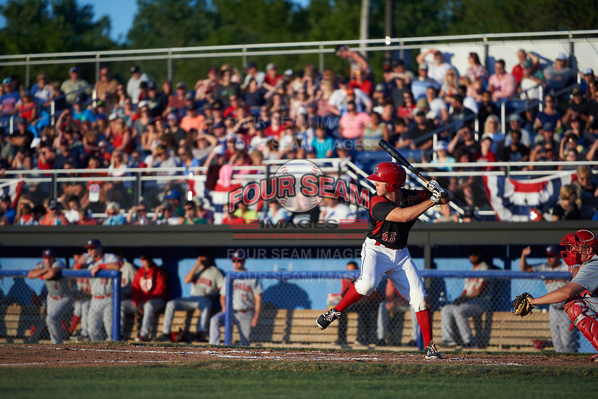 Batavia Muckdogs left fielder Mathew Brooks (46) at bat during a game against the Auburn Doubledays on July 4, 2017 at Dwyer Stadium in Batavia, New York.  Batavia defeated Auburn 3-2.  (Mike Janes/Four Seam Images)