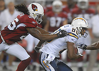 Aug 25, 2007; Glendale, AZ, USA; San Diego Chargers wide receiver Malcom Floyd (80) is tackled by Arizona Cardinals cornerback Eric Green (25) at University of Phoenix Stadium. San Diego defeated Arizona 33-31. Mandatory Credit: Mark J. Rebilas-US PRESSWIRE