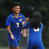 Juan Gonzalez #7 of Roosevelt, right, gets congratulated by Wilfredo Perez after netting the Rough Riders' game-tying goal midway through the second half of a Nassau County varsity boys soccer game against host Roslyn High School on Thursday, Oct. 5, 2017. Gonzalez scored the go-ahead goal later in the half to lead Roosevelt to a 4-2 win.