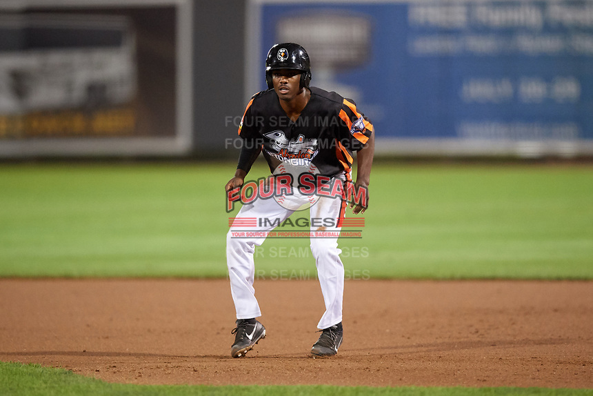 Aberdeen IronBirds left fielder Jaylen Ferguson (31) leads off first base during a game against the Staten Island Yankees on August 23, 2018 at Leidos Field at Ripken Stadium in Aberdeen, Maryland.  Aberdeen defeated Staten Island 6-2.  (Mike Janes/Four Seam Images)