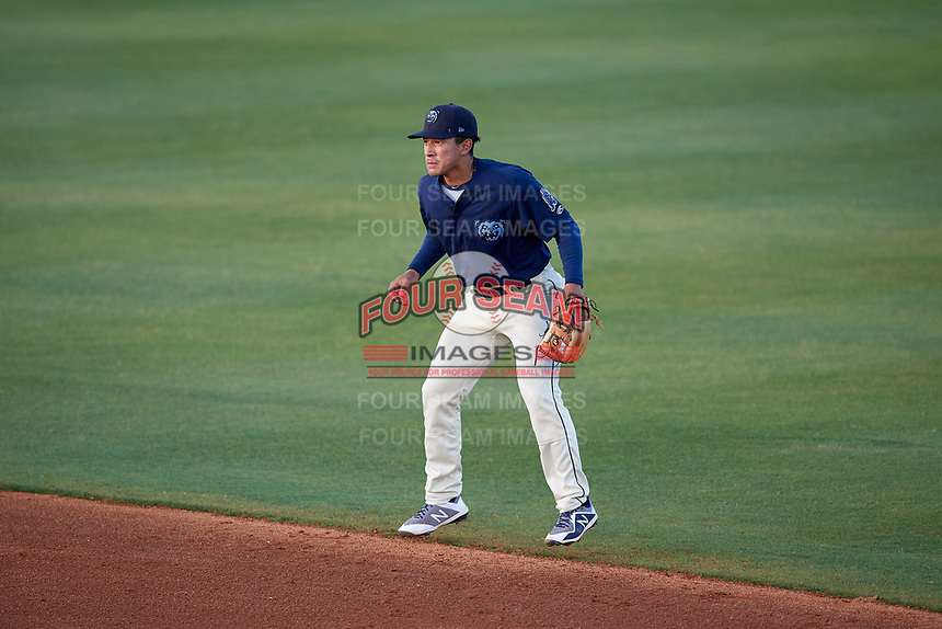 Mobile BayBears second baseman Jahmai Jones (15) during a Southern League game against the Jacksonville Jumbo Shrimp on May 7, 2019 at Hank Aaron Stadium in Mobile, Alabama.  Mobile defeated Jacksonville 2-0.  (Mike Janes/Four Seam Images)