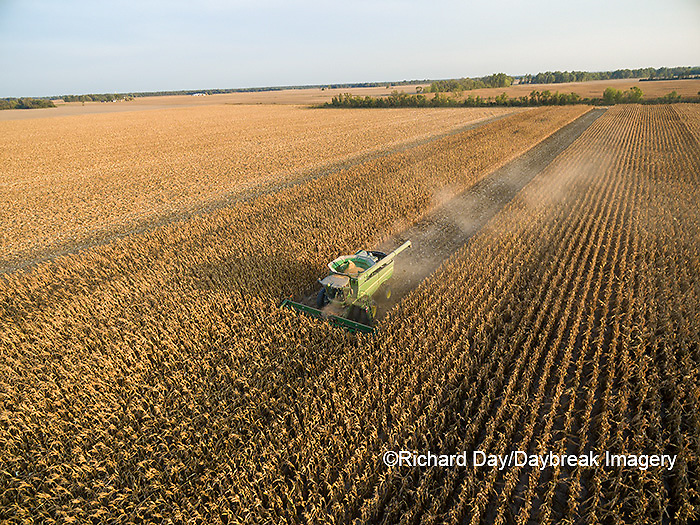 63801-08501 Corn Harvest, John Deere combine harvesting corn - aerial Marion Co. IL