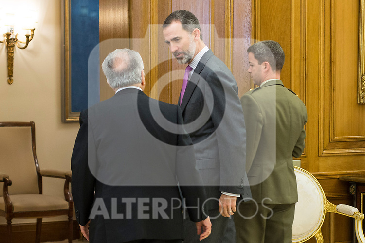 Spanish King Felipe and Juan Jose Gonzalez Rivas, President of the Spanish Constitutional Court attends the audience at Zarzuela Palace in Madrid, Spain. March 31, 2017. (ALTERPHOTOS / Rodrigo Jimenez)