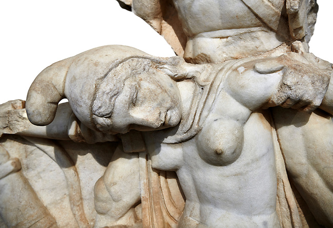 Close up of Roman Sebasteion relief  sculpture of Nero conquering Armenia depicting a fallen female representing Armenia,  Aphrodisias Museum, Aphrodisias, Turkey.   Against a white background.<br /> <br /> Nero, wearing only a cloak and sword strap, supports a slumped naked Armenia by her upper arms. She wears a soft eastern hat, and her bow and quiver are next to her. The heroic composition likens them to Achilles and the Amazon Queen Penthesilea. The inscription reads: Armenia - (Neron) Klaudios Drousos Kaisar Sebastos Germanikos.