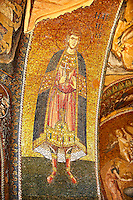 The 11th century Roman Byzantine Church of the Holy Saviour in Chora and its mosaic of Saint George. Endowed between 1315-1321  by the powerful Byzantine statesman and humanist Theodore Metochites. Kariye Museum, Istanbul