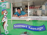 Mario Morales at his Yummy Dog food truck on Durham Thursday Oct 09, 2014.(Dave Rossman photo)
