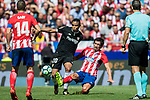 Luis Muriel (l) of Sevilla FC fights for the ball with Stefan Savic of Atletico de Madrid during the La Liga 2017-18 match between Atletico de Madrid and Sevilla FC at the Wanda Metropolitano on 23 September 2017 in Madrid, Spain. Photo by Diego Gonzalez / Power Sport Images