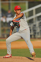 Starting pitcher Jordan Hicks (12) of the Johnson City Cardinals delivers a pitch in a game against the Danville Braves on Friday, July 1, 2016, at Legion Field at Dan Daniel Memorial Park in Danville, Virginia. Johnson City won, 1-0. (Tom Priddy/Four Seam Images)