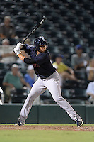 Tampa Yankees shortstop Vicente Conde (28) at bat during a game against the Fort Myers Miracle on April 15, 2015 at Hammond Stadium in Fort Myers, Florida.  Tampa defeated Fort Myers 3-1 in eleven innings.  (Mike Janes/Four Seam Images)