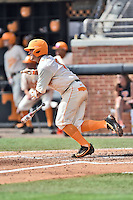 Tennessee Volunteers third baseman Nick Senzel (13) swings at a pitch during game one of a double header against the UC Irvine Anteaters at Lindsey Nelson Stadium on March 12, 2016 in Knoxville, Tennessee. The Volunteers defeated the Anteaters 14-4. (Tony Farlow/Four Seam Images)