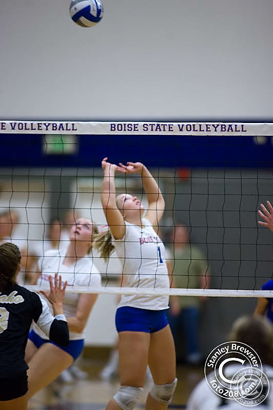 The Boise state Bronco Volleyball team defeated the Idaho Vandals team 3 sets to 1 October 12th in Bronco Gym in Boise Idaho.