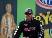Mar 30, 2014; Las Vegas, NV, USA; NHRA top fuel driver Steve Torrence during the Summitracing.com Nationals at The Strip at Las Vegas Motor Speedway. Mandatory Credit: Mark J. Rebilas-