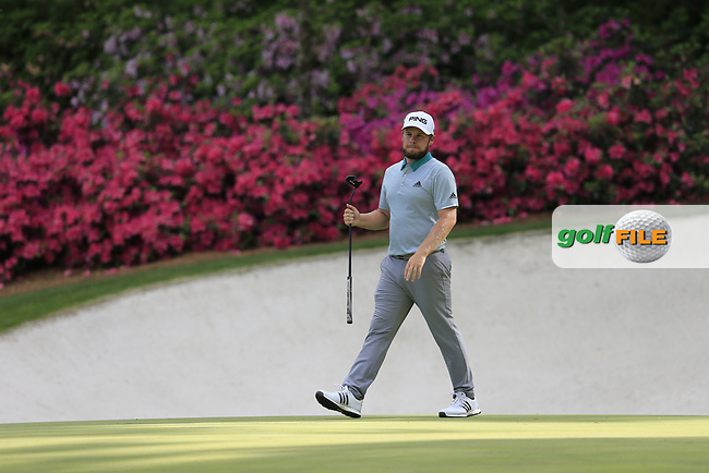 Tyrrell Hatton (ENG) on the 13th green during the 1st round at the The Masters , Augusta National, Augusta, Georgia, USA. 11/04/2019.<br /> Picture Fran Caffrey / Golffile.ie<br /> <br /> All photo usage must carry mandatory copyright credit (© Golffile | Fran Caffrey)