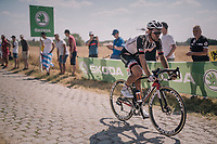 Edward Theuns (BEL/Sunweb) on pavé sector #3 with some proof of an earlier crash<br /> <br /> Stage 9: Arras Citadelle > Roubaix (154km)<br /> <br /> 105th Tour de France 2018<br /> ©kramon