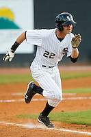 John Spatola #22 of the Bristol White Sox hustles down the first base line against the Greeneville Astros at Boyce Cox Field July 1, 2010, in Bristol, Tennessee.  Photo by Brian Westerholt / Four Seam Images