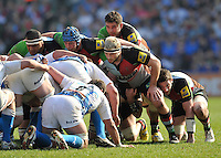 London, England. Quins prepare to scrum James Johnston, Joe Gray and Joe Marler of Harlequins during the Aviva Premiership match between Harlequins and Bath Rugby at Twickenham Stoop on March 24, 2012 in Twickenham, England.