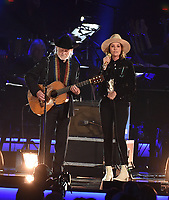 LOS ANGELES, CA - FEBRUARY 8: Willie Nelson and Brandi Carlile perform on the 2019 MusiCares Person of the Year Tribute Honoring Dolly Parton at the Los Angeles Convention Center on February 8, 2019 in Los Angeles, California. (Photo by Frank Micelotta/PictureGroup)