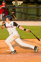 Mike Blanke #32 of the Kannapolis Intimidators follows through on his swing against the Greenville Drive at Fieldcrest Cannon Stadium on May 8, 2011 in Kannapolis, North Carolina.   Photo by Brian Westerholt / Four Seam Images