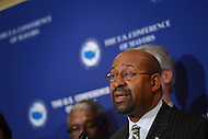 January 17, 2013  (Washington, DC)  President of the U.S. Conference of Mayors (USCM), Mayor Michael Nutter, holds a news conference at the opening of the USCM 81st winter meeting at the Capitol Hilton in Washington.   (Photo by Don Baxter/Media Images International)