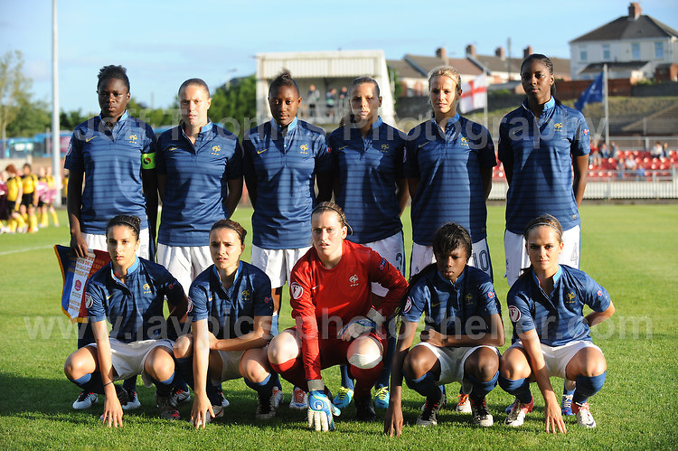 The French team  during the UEFA Womens U19 Championships at Stebonheath Park, Llanelli  Monday 19th August 2013. All images are the copyright of Jeff Thomas Photography-www.jaypics.photoshelter.com-07837 386244-Any use of images must be authorised by the copyright owner.