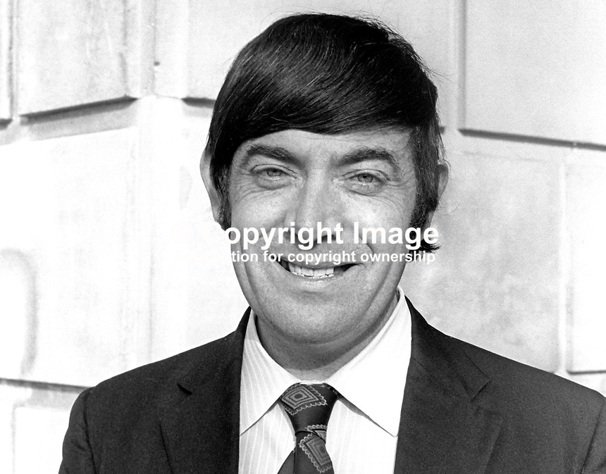 John O'Hagan, SDLP, assemblyman, North Antrim, N Ireland Assembly, Belfast, October 1973, 197310180648b<br /> <br /> Copyright Image from Victor Patterson, 54 Dorchester Park, <br /> Belfast, UK, BT9 6RJ<br /> <br /> t1: +44 28 9066 1296 (from Rep of Ireland 048 9066 1296)<br /> t2: +44 28 9002 2446 (from Rep of Ireland 048 9002 2446)<br /> m: +44 7802 353836<br /> <br /> e1: victorpatterson@me.com<br /> e2: victorpatterson@gmail.com<br /> <br /> www.victorpatterson.com<br /> <br /> Please see my Terms and Conditions of Use at www.victorpatterson.com. It is IMPORTANT that you familiarise yourself with them.<br /> <br /> Images used on the Internet must be visibly watermarked i.e. &copy; Victor Patterson within the body of the image and copyright metadata must not be deleted. Images used on the Internet have a size restriction of 4kbs and will be chargeable at current NUJ rates unless agreed otherwise.<br /> <br /> This image is only available for the use of the download recipient i.e. television station, newspaper, magazine, book publisher, etc, and must not be passed on to any third party. It is also downloaded on condition that each and every usage is notified within 7 days to victorpatterson@me.com<br /> <br /> The right of Victor Patterson to be identified as the author is asserted in accordance with The Copyright Designs And Patents Act (1988).