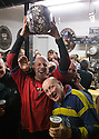 17/02/15  <br /> <br /> 'Vince Brayne (34) celebrates with his ball after 'gaoling' a ball at the annual Royal Shrovetide Football  Match in Ashbourne, Derbyshire. After 'turning up' the ball at 2pm thousands of rival Up'Ards' and Down'Ards' team members attempt to 'goal' the ball onto stones set three miles apart in the town of Ashbourne, Derbyshire. The game also known as &quot;hugball&quot; has been played from at least c.1667 although the exact origins of the game are unknown but one of the most popular origin theories suggests the macabre notion that the 'ball' was originally a severed head tossed into the waiting crowd following an execution.<br /> <br /> <br /> All Rights Reserved - F Stop Press.  www.fstoppress.com. Tel: +44 (0)1335 418629 +44(0)7765 242650