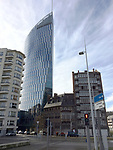 Liège (Liege) - Belgium, January 29, 2017; <br /> Tour Paradis (Paradise Tower) / Tour des Finances de Liège (Financial Tower of Liège), with its 136-metres the tallest office / skyscraper in Wallonia, constructed from 2012 to 2014 and located next to the railway station Liège-Guillemins; <br /> Photo: © HorstWagner.eu